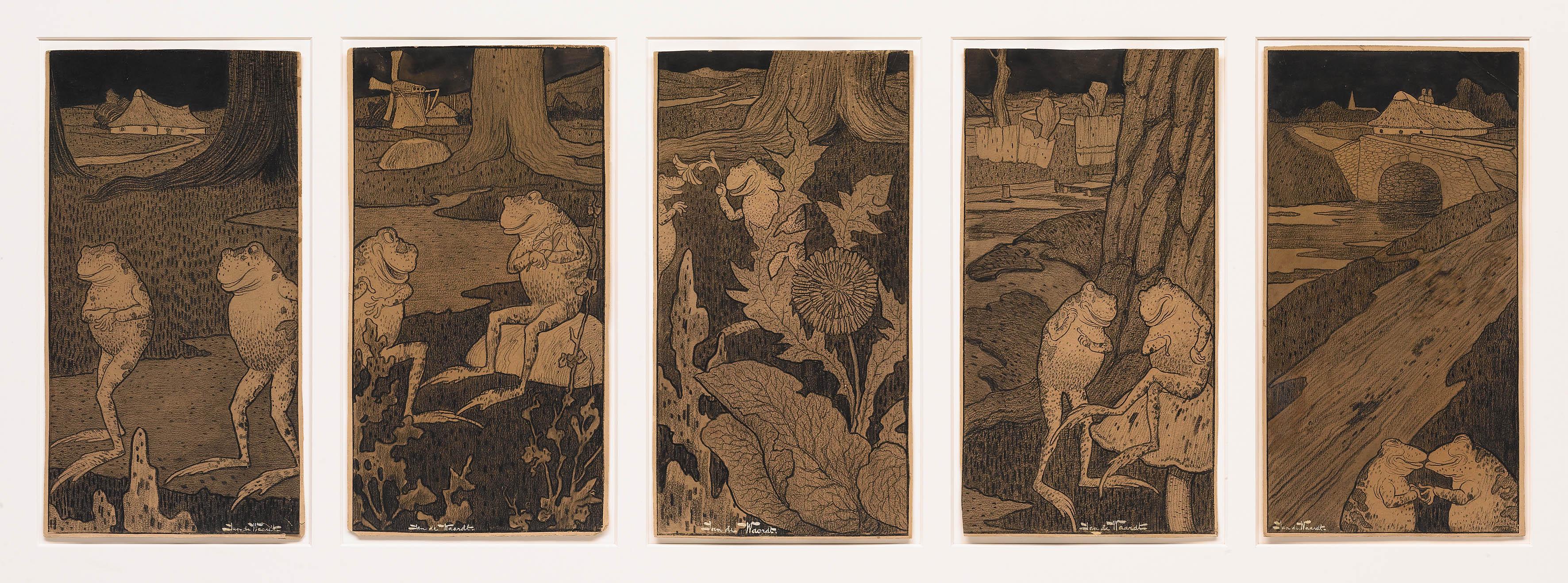 Vijf tekeningen met kikkers, Jan de Waardt